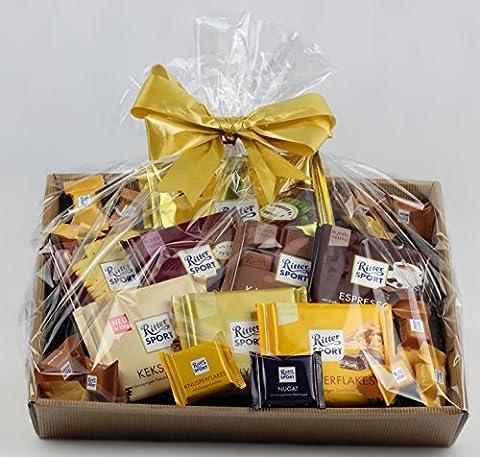 Korbfreu.de Geschenkkorb Ruttger - Präsentkorb ausschließlich mit Ritter Sport Schokoladen Geschenkidee Geschenk Geschenkset