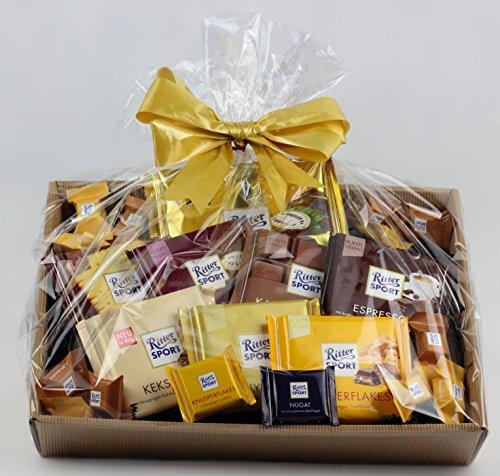 Korbfreu.de Geschenkkorb Ruttger - Präsentkorb ausschließlich mit Ritter Sport Schokoladen Geschenkidee Geschenk Geschenkset (Schokolade Geschenk-körbe)