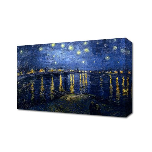 VAN GOGH STARRY NIGHT OVER THE RHONE - VINCENT VAN GOGH PAINTING CANVAS ART PRINT BOX CANVAS READY TO HANG 48 inch x 30 inch