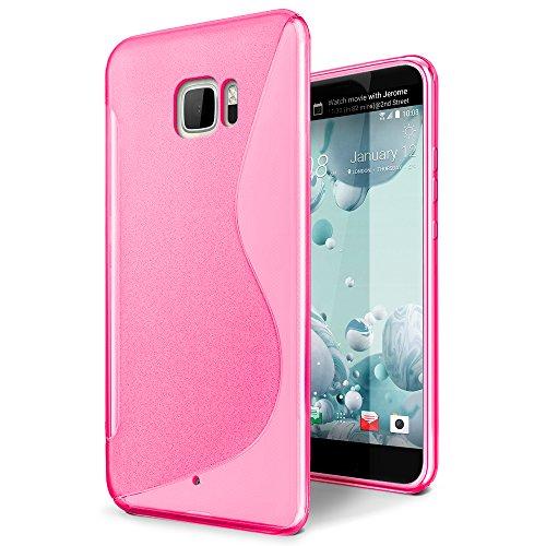SLEO HTC U Ultra Hülle S-TPU Ultradünne Schutzhülle [Anti-Scratch/Rutsch] [Staubdicht] Translucent Silikon Tasche für HTC U Ultra - Rose