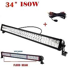"Tanli 34"" 180W 10-30V LED barra de luz trabajo Spot Flood Combo FOCO 12V 24V Light Bar camión Impermeable IP67 para Offroad SUV ATV UTV Jeep y Camiones"