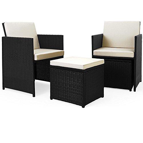 Deuba® Poly Rattan Sitzgarnitur 8+1 | Cube Design | 7cm dicke Auflagen in creme | klappbare Rückenlehne | platzsparend [ Modellauswahl 2+1 | 4+1 | 8+1 | 10+1 ] - Sitzgarnitur Gartengarnitur Rattanmöbel Gartenmöbel Set - 4