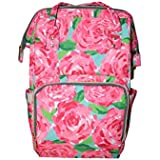 Xiakou Lilly Inspired Diaper Backpack With Coral Rose Flamingo Printing Canvas Diaper Backpack (Red)