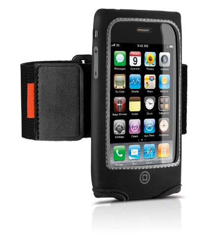Philips DLM1324 Neoprene Fitness Hülle mit Clip und Armband schwarz für iPhone 3G/3GS (Iphone 3g-armband)