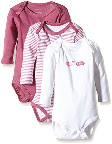 NAME IT Baby-Mädchen Body NITBODY LS NB G NOOS, 3er Pack, Gr. 56, Mehrfarbig (Red Violet)