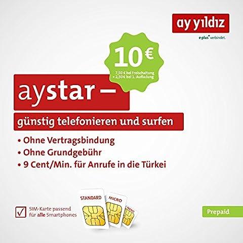 aystar Prepaid tarjeta de AY Yildiz–sin Contrato Fijaciones y sin Motivo importe. Incluye 10Euros saldo (7,50euros prepago + 2,50euros Bonus Saldo). opcional zubuchbar Allnet Flat y smartphone