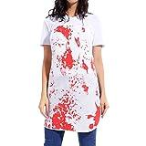 Delantal Blanco con Manchado de Sangre para Halloween Talla Única Poyester Disfraz de Carnicero Científico Loco Médico Zombi