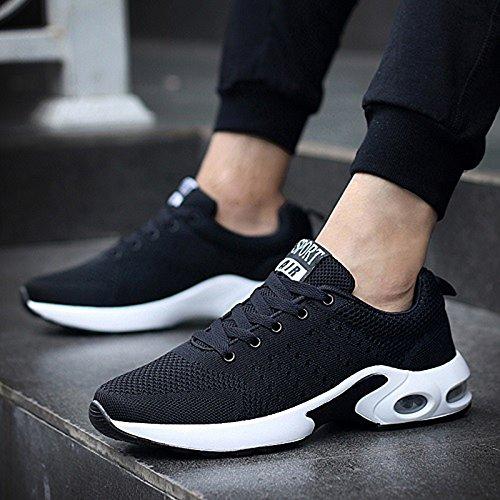 Xiaolin Pu De Microfibra Sintética Pu Para Hombre Zapatos Deportivos Fall Winter Comfort Zapatillas De Running Para Athletic Casual (color: Azul, Dimensiones: Eu42 / Uk8.5 / Cn43) Negro