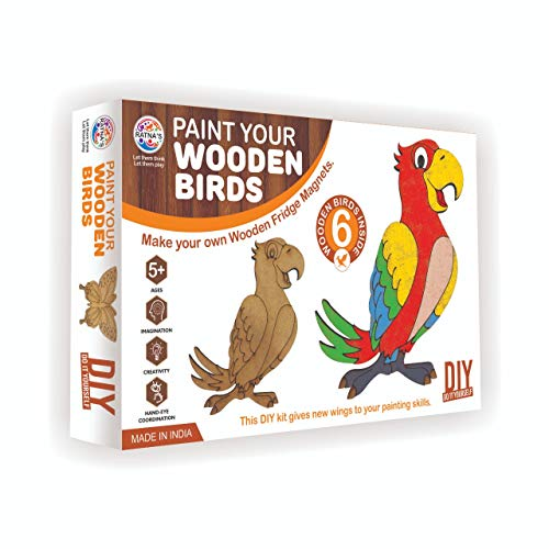 RATNA'S Premium Quality Paint Your Wooden Fridge Magnets for Kids/Adults. (Paint Wooden Birds)
