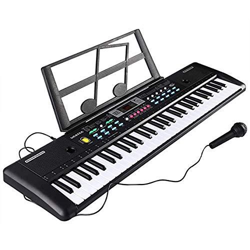 Tastiera Elettronica Pianoforte a 61 Tasti, Tastiera Per Pianoforte Con Supporto Per Musica, Microfono, Alimentatore Tastiera Digitale Per Pianoforte Musicale Per Bambini (Nero)