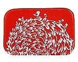 iHome Fußmatte, Korallen Samt, 40 x 60 cm, Kleine Vögel auf Blumen-Büsche (Rot Weiß)