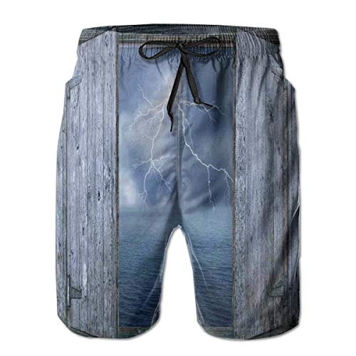 MIOMIOK Mens Beach Shorts Swim Trunks,Thunder Bolt at Night from Window In A Seaside House Forces of Nature Theme Print,Summer Cool Quick Dry Board Shorts Bathing SuitL