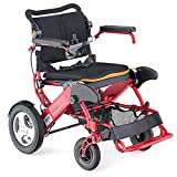 Motion Healthcare Foldalite Trekker Powerchairs - Electric Motorized Wheelchair for Adults with Treaded Rear Wheels, Red