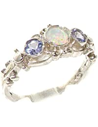 925 Solid Sterling Silver Natural Fiery Opal & Tanzanite English Georgian style Trilogy Ring