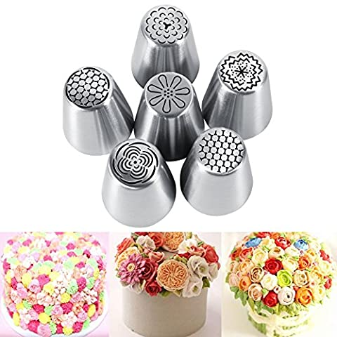 Stainless Steel Cake Nozzle, 6pcs Cake Icing Piping Nozzles Tool Set for Cakes Cupcakes Decorating Cookies