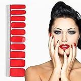 Adesivo Smalto per Unghie 20 Fogli Copertura Completa Colorato Autoadesivo Punta Unghie Art Sticker Decalcomanie Manicure Fai da te Decorazioni Strumenti(BZ04 Red)