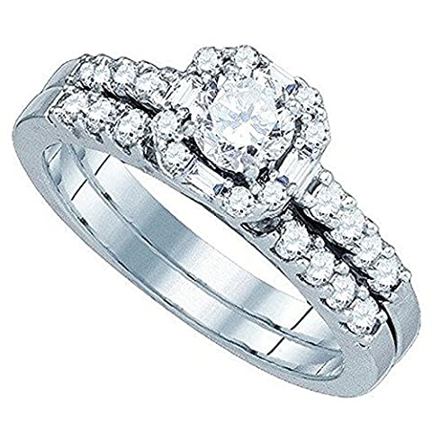 0.64 Carat (ctw) 14 ct White Gold Round And Baguette