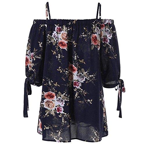 nt Cold Shoulder Blouse EUZeo Mode Sexy Damen Casual Kurzarm Tops Camis (XL, Navy) (Plus Size T Shirt Kostüme)