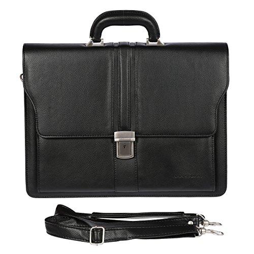 Bag Street Aktentasche Herren schwarz Kunstleder-Aktentasche Aktenkoffer Bürotasche, ohne, Schwarz