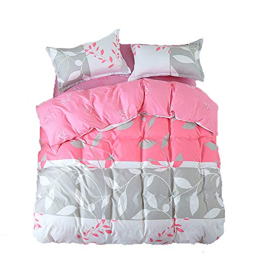 KFZ Bett Set (Zwei Full Queen King Size) [4: Bettbezug, Bettlaken, 2Kissenbezüge] Keine Tröster FD Banana Leaf Stripe Print Design Erwachsene, Kinder, Microfaser, Romantic Leaf, Red, Twin, 58
