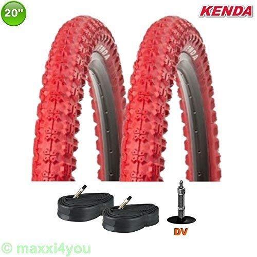 KENDA 01022009KR K-51 Fahrrad BMX - Reifen mit 2x Schlauch Rot 20 x 2.25 58-406 - Rot-bmx-fahrrad-reifen