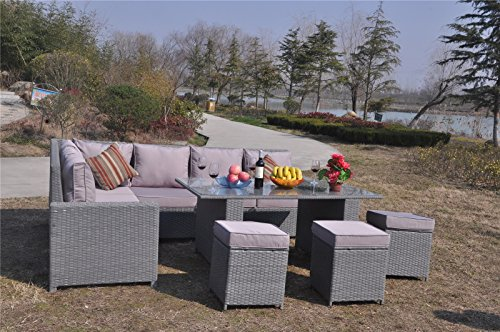 Yakoe 70004 195x71x85 Cm Conservatory 9 Seater Rattan Garden Furniture ...