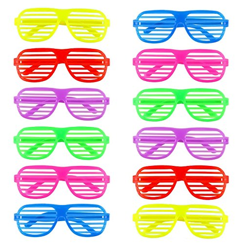 12 Pack 1980s Shutter Shade Glasses