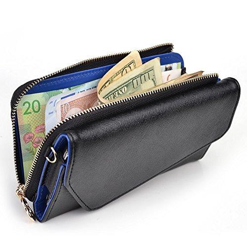 Kroo d'embrayage portefeuille avec dragonne et sangle bandoulière pour Alcatel Hero 2 Noir/gris Black and Blue