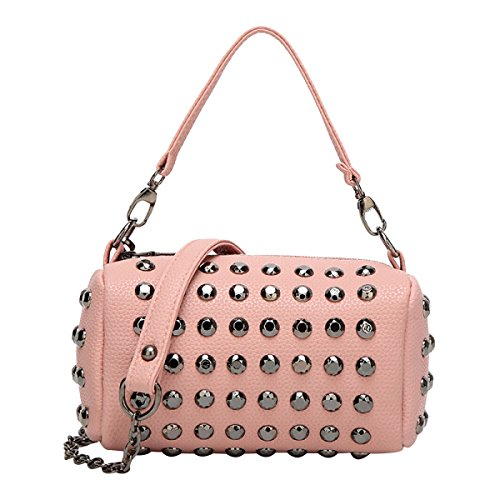 Frauen Nieten Boston Taschen Mode Umhängetasche Handtaschen Pink