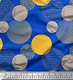 Soimoi Blau Viskose Chiffon Stoff abstrakte Kreise abstrakt