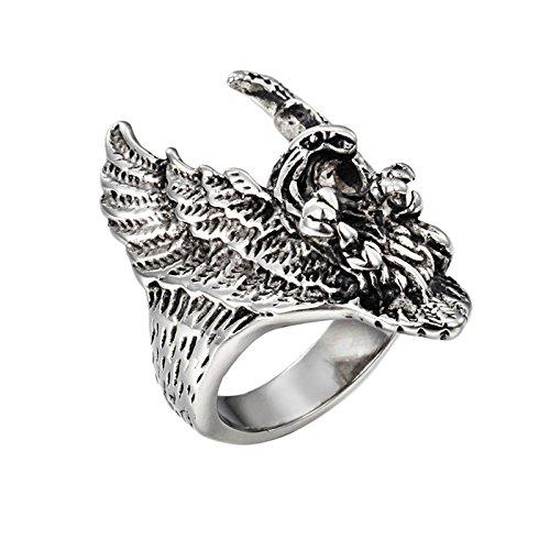 SanJiu Schmuck Herren Ringe Edelstahl Ring Runde Form Herrschsüchtig Adler Kopf Muster Retro Gotik Biker Punk Klassisch Ring für Herren Silber Größe 60 (19.1) (Ding 1 Ding 2 Perücken)