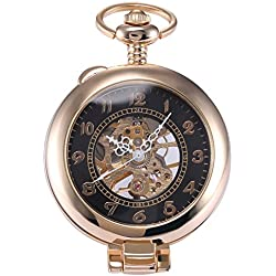 AMPM24 Unique Golden Magnifier Skeleton Mechanical Mens Pocket Watch Chain Gift + AMPM24 Gift Box WPK022