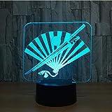 Coltello E Ventilatore Pieghevole Lampada 3D 7 Colori Led Night Lights Bambini Led Tavolo Usb Baby Sleeping Light Fixture Regali Decor