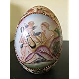 8 Inch Hand Painted Porcelain Artist Egg with God and Angel Picture