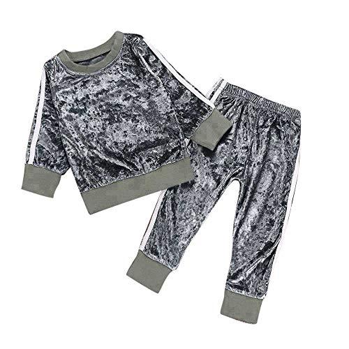 Kobay Kleinkind Kinder Baby Mädchen Jungen Langarm Solide Tops + Hosen Outfits Set Kleidung(18-24M,Grau) -