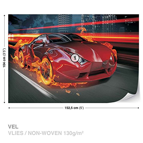 FORWALL DekoShop Vlies Fototapete Tapete Vliestapete Rotes Auto im Feuer DK132VEL (152,5 x 104cm) Photo Wallpaper Mural