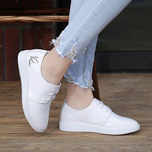 Damen Schnürhalbschuhe Spitz Zehen Anti-Rutsche Frühling Atmungsaktiv Freizeitschuhe Weiß