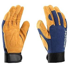 PREMIUM guantes de trabajo de lujo, para la mecánica, montaje, embalaje, almacén, jardinería, el transporte, guantes de motocicleta, las tareas domésticas, hobby (1 Par, 6)