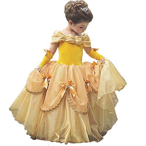 kleider belle prinzessin mädchen cosplay weihnachten kleid halloween party kleid (4-5Y, Gelb) (60's Inspiriert Halloween Kostüme)