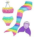 Superstar88 Mädchen Cosplay Kostüm Badebekleidung Meerjungfrau Shell Badeanzug 3pcs Bikini Sets Tolle Geschenksidee ! (110, Purple Dream)