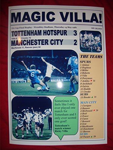 Tottenham Hotspur 3 Manchester City-FA Cup Finale 2-1981-souvenir, -
