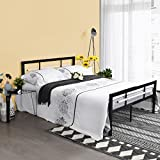 Aingoo Double Bed Frame Metal Square Tube 4ft 6 Bed Solid Bedstead for Adults Teenager Kids in Black