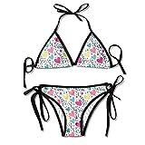 Women's Thong Bikini Suit Swimsuit Hearts Stars and Streamers Sexy Bikini Set 2 Piece