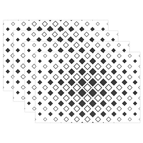 AIKENING Quadratische Diagonale Muster, einfarbig, Platzdeckchen-Set, 4 Stück, wärmeisolierend, schmutzabweisend, für Esstisch, langlebig, rutschfest -