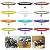 Ueetek Halsbänder zur Identifikation von Haustieren, weich, aus Stoff, verstellbare Halsbänder für Katzen, Hunde und andere Haustiere, mit Glöckchen, 12Stück, 12 colors, 20cm*1cm
