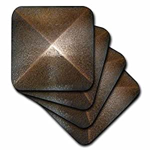3dRose cst_53244_3 Bronze Metal Medallion-Ceramic Tile Coasters, Set of 4