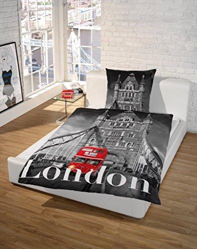 SCHLAFWOHL - Ropa de cama con impresión fotográfica de Londres, 100% algodón,...