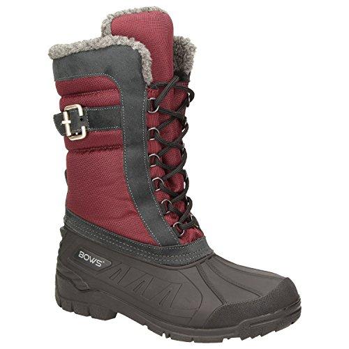 BOWS® -SUSI- Winterstiefel Damen Schnee Stiefel Snow Schuhe Winterboots warm gefüttert wasserdicht wasserabweisend, Schuhgröße:38, Farbe:rot