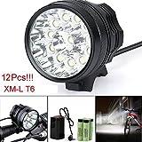 Fahrrad Licht, TopTen Fan-Motive 12x T6LED 12000Lumen 3Modi Ultra Bright Fahrrad LED Scheinwerfer Kopf Taschenlampe mit Akku und Laden