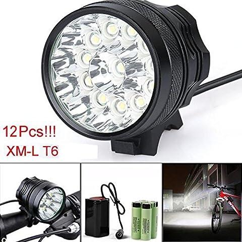 Lampe de vélo, 10principales 12x T6LED 12000lumens 3modes lampe frontale LED ultra lumineux Vélo Tête lampe de poche avec batterie rechargeable et de charge